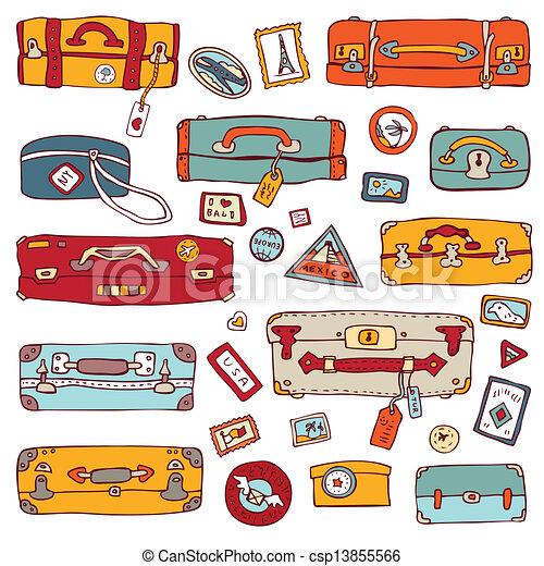 Vintage suitcases set. Travel Vector illustration. - csp13855566