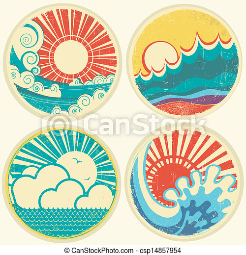 vintage sun and sea waves. Vector icons of  illustration of seascape - csp14857954