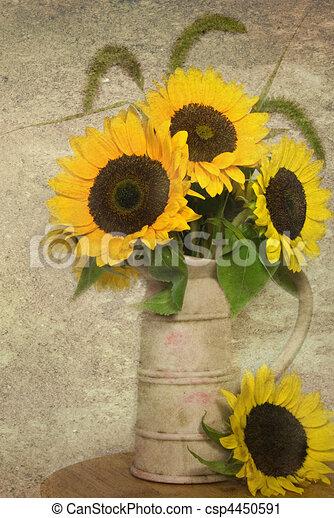 Vintage Sunflowers Sunflower Bouquet In Vintage Jug