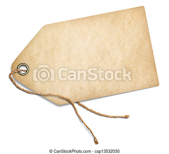 Vintage tag with rope isolated on white - csp13532030