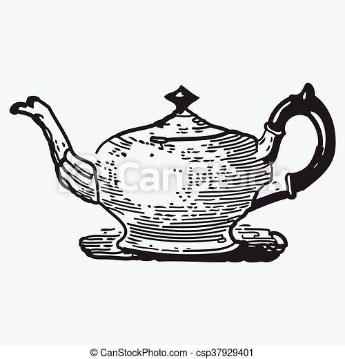 Vintage tea pot engraving, ephemeral vector illustration ...