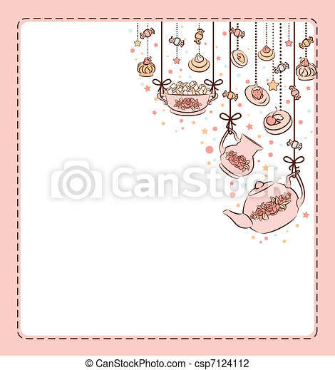Vintage tea set and sweet cakes. - csp7124112