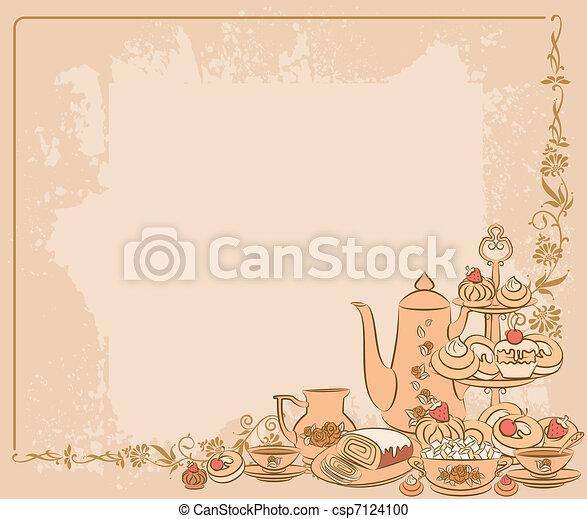 Vintage tea set and sweet cakes - csp7124100