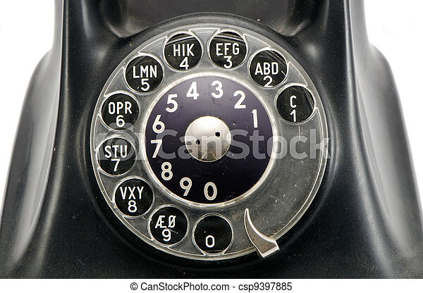 vintage telephone dial with numbers - csp9397885