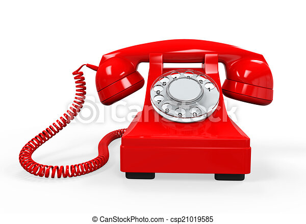 Vintage Telephone Isolated On White Background 3d Render Stock