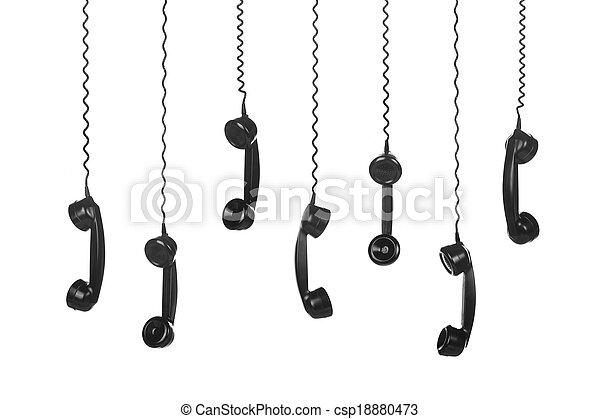Vintage Telephones  black on white background - csp18880473