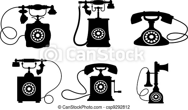 Set Of Old Vintage Telephones Isolated On White Background Vector