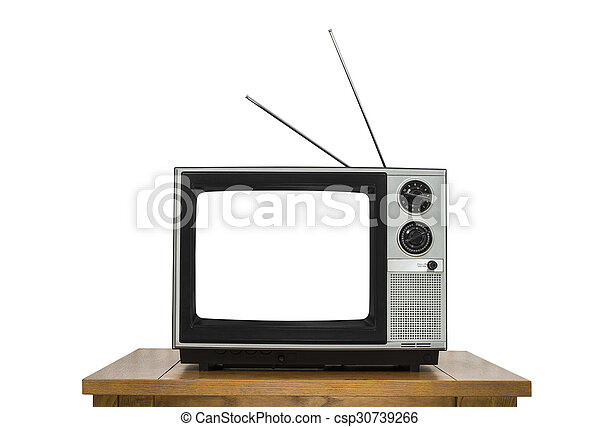 Vintage Television on Wood Table Isolated on White with Cut Out Screen - csp30739266