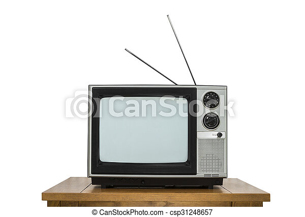 Vintage Television on Wood Table Isolated on White - csp31248657