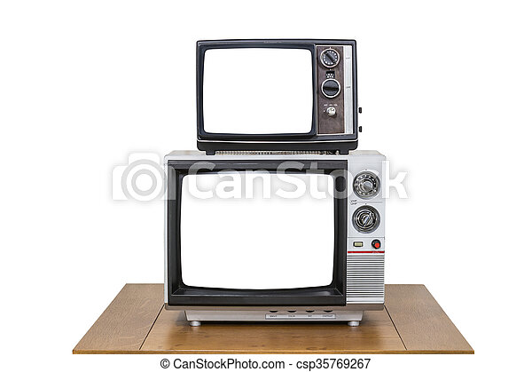 Vintage Television Stack Isolated on White with Cut Out Screens - csp35769267
