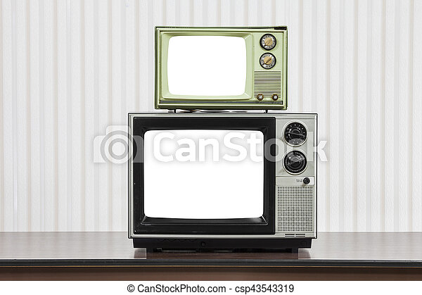 Vintage Televisions Stacked on Table with Cut Out Screens - csp43543319