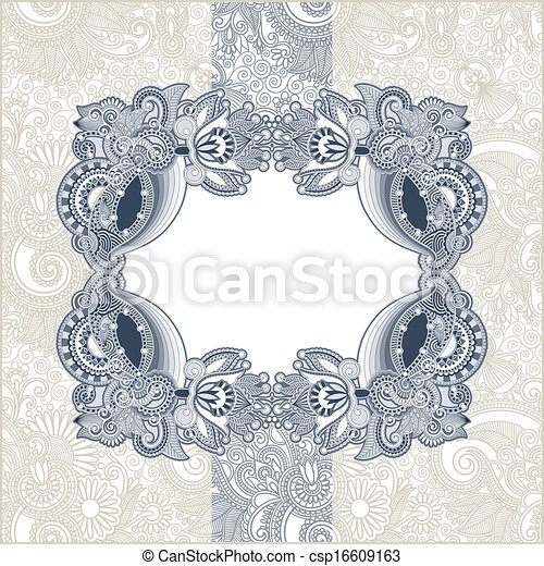 Vintage template with floral background - csp16609163