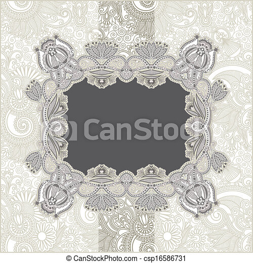 Vintage template with floral background - csp16586731