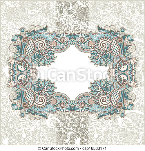 Vintage template with floral background - csp16583171