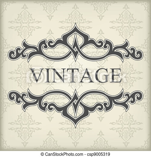 Vintage template with floral frame - csp9005319