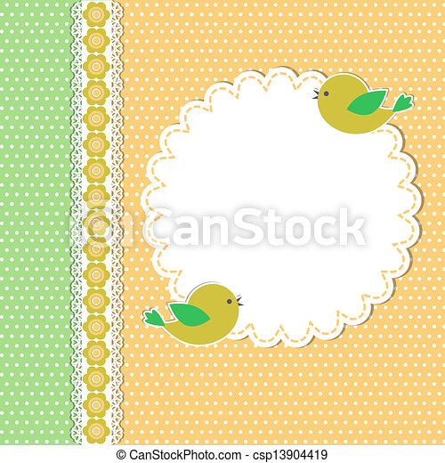 Vintage template with two birds - csp13904419