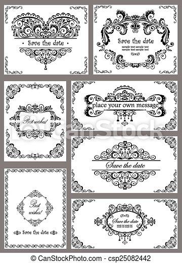 Vintage templates for wedding design.