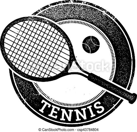 Vintage Tennis Sport Stamp - csp43784804