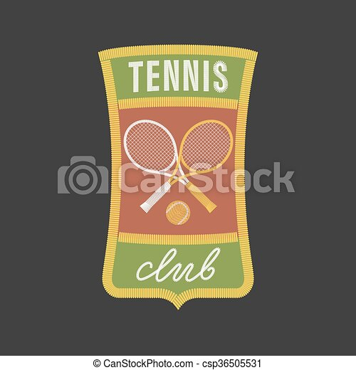 Vintage tennis sports vector logo - csp36505531