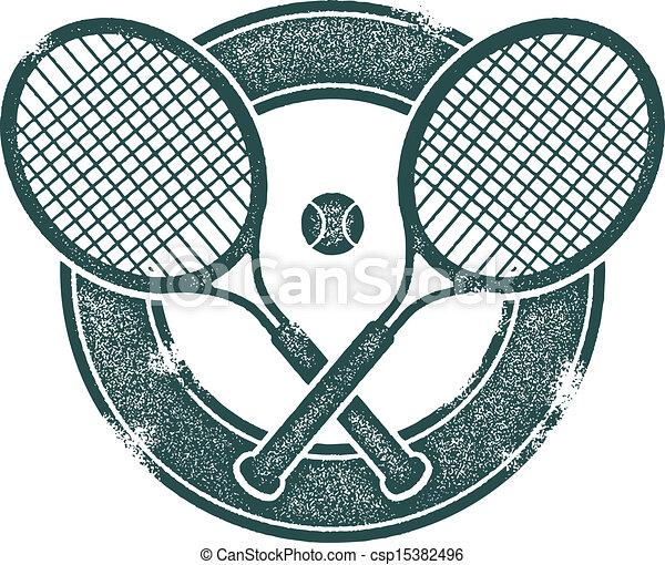 Vintage Tennis Vector Design Crossed Tennis Rackets In Vintage