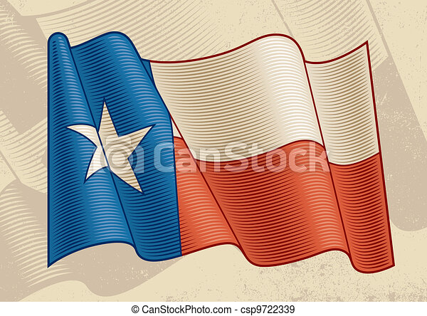 Vintage Texas Flag In Woodcut Style Vector Illustration Eps