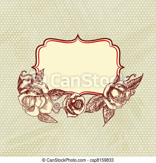 Vintage text frame with roses, old paper background.