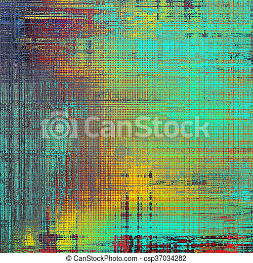 Vintage texture, old style frame decoration with grunge graphic elements and different color patterns: yellow (beige); green; blue; red (orange); purple (violet); cyan - csp37034282