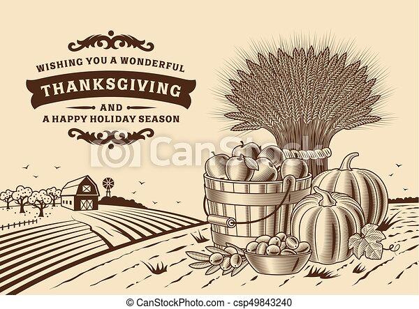 Vintage Thanksgiving Landscape Brown - csp49843240