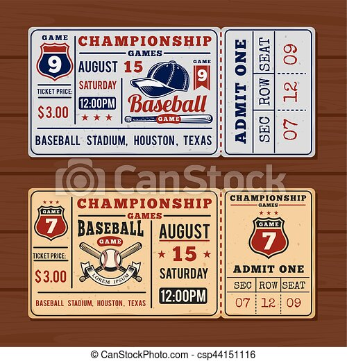 Vintage tickets to the championship baseball and softball - csp44151116