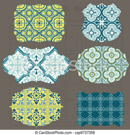 Vintage Tiles Design elements for scrapbook - Old tags and frames in vector - csp9737358