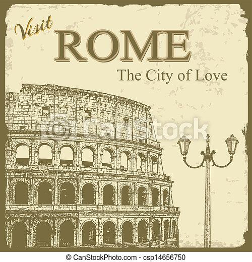Vintage touristic poster - Rome - csp14656750