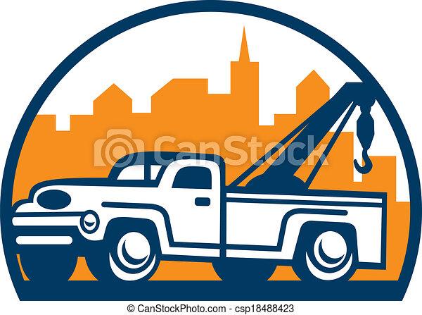 Vintage Tow Truck Wrecker Retro - csp18488423