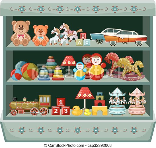 Vintage toys shop. Shelves. Vector illustration - csp32392008