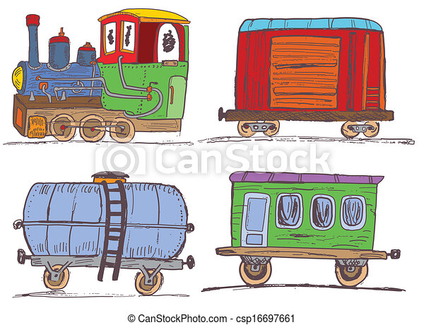vintage train with wagons - csp16697661