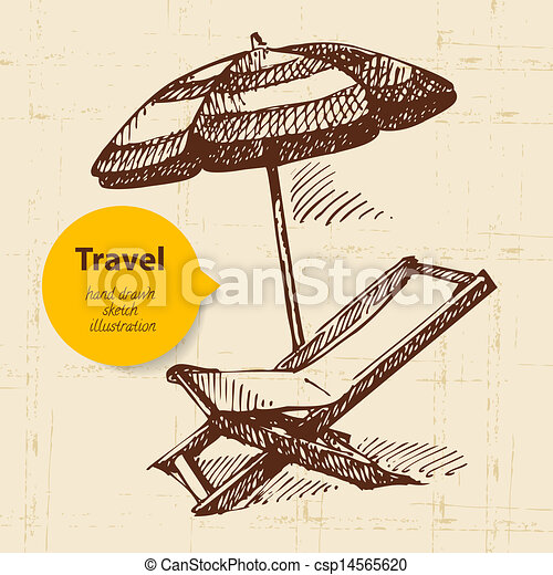 Vintage Travel Background With Beach Armchair And Umbrella Hand Drawn Illustration