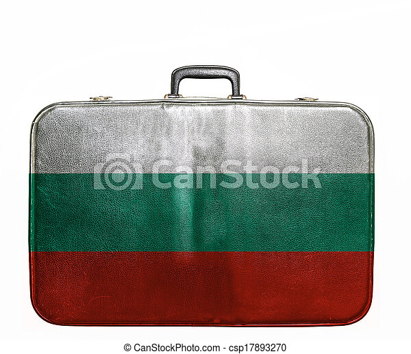 Vintage travel bag with flag of Bulgaria - csp17893270