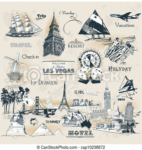Vintage Travel Symbols Set Of Vintage Travel Symbols