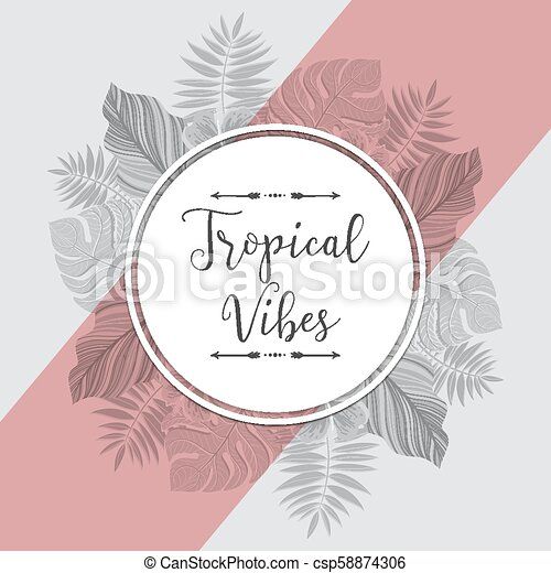 Vintage tropical label with palm leaves. For invitation, greeting card, poster, package and more. Vector illustration. - csp58874306