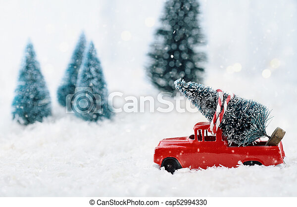 vintage truck and christmas tree csp52994330