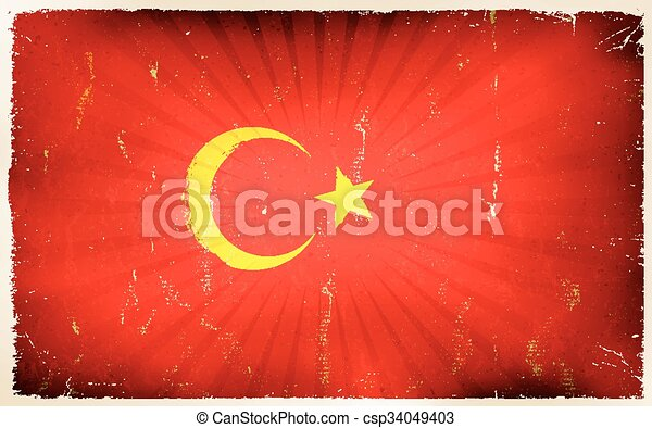 Vintage turkey Flag Poster Background - csp34049403