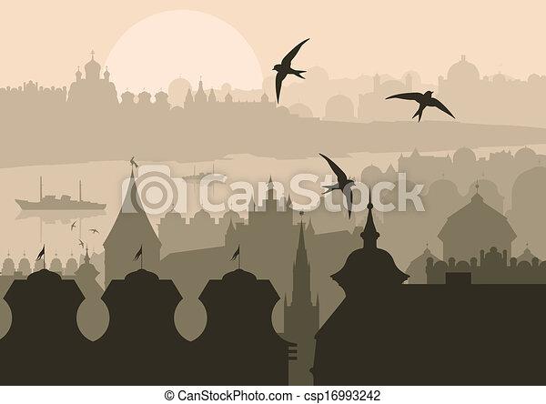 Vintage turkish city Istanbul landscape - csp16993242