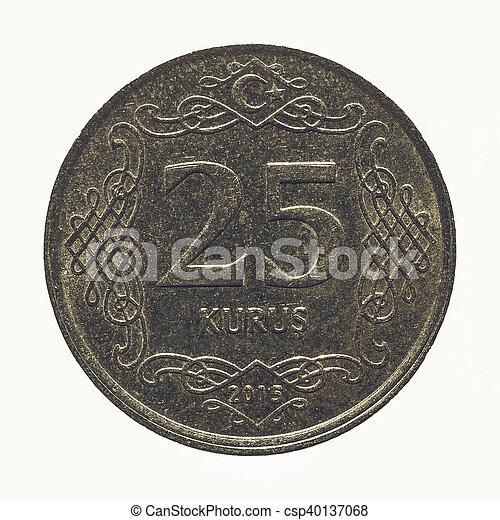 Vintage Turkish coin isolated - csp40137068