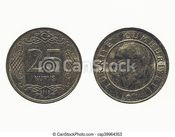 Vintage Turkish coin isolated - csp39964353