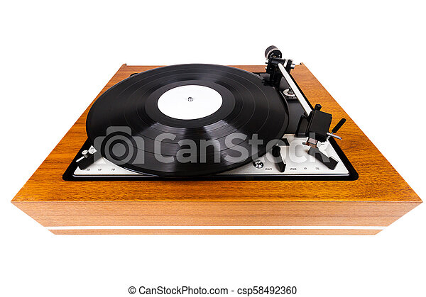 Vintage turntable vinyl record player isolated on white - csp58492360