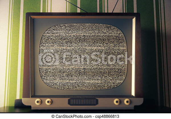 Vintage TV With Empty Screen Front