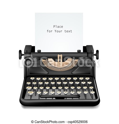 Vintage Typewriter Isolated Editable - csp40529006