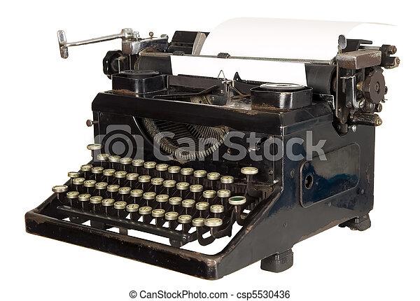 9dcec692159 Vintage typewriter on white background. Old antique white typewriter ...