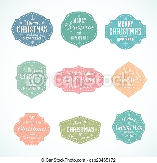 vintage typography soft color cute christmas vector badges set with candle star gift borders and