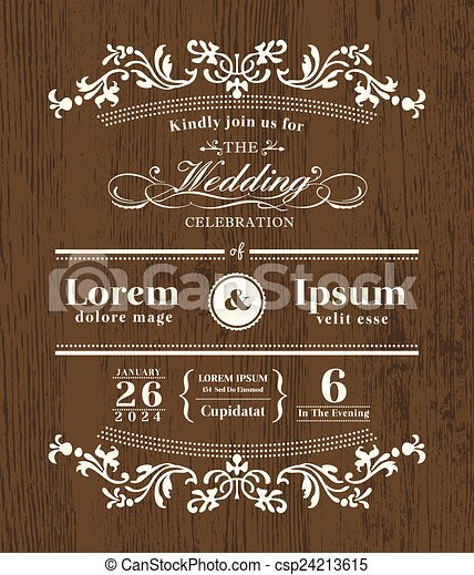 Vintage typography wedding invitation design template on wooden vintage typography wedding invitation design template on wooden background csp24213615 stopboris Images