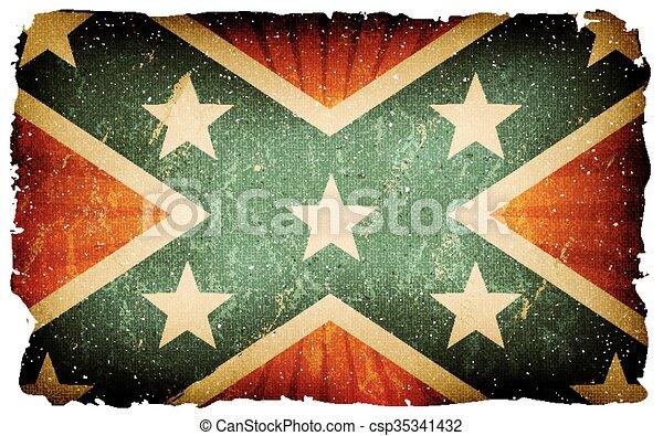 Vintage US Confederate Flag Poster Background - csp35341432